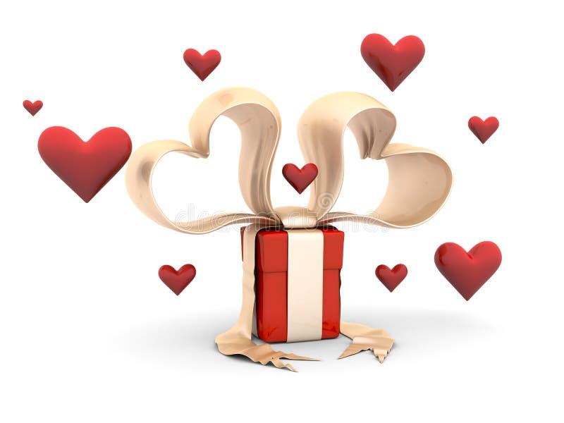 Contenitore di regalo del biglietto di S. Valentino di Funy con i cuori illustrazione vettoriale