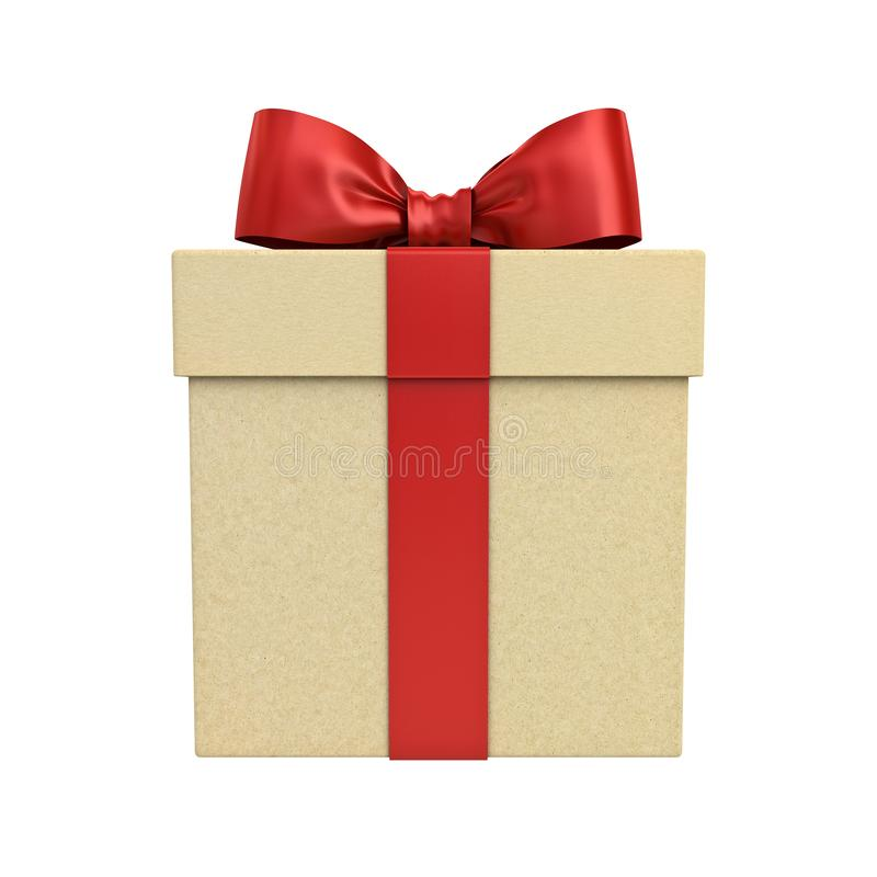 Contenitore di regalo del cartone o scatola attuale con il nastro rosso ed arco isolato su bianco immagine stock libera da diritti