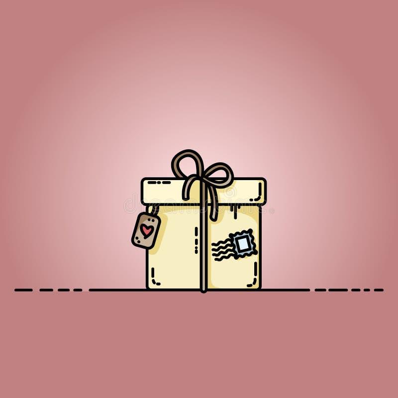 Contenitore di regalo del pacchetto con un bollo Illustrazione piana di vettore illustrazione di stock