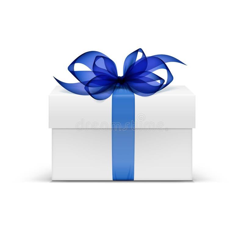 Contenitore di regalo del quadrato bianco con il nastro blu e l'arco illustrazione vettoriale
