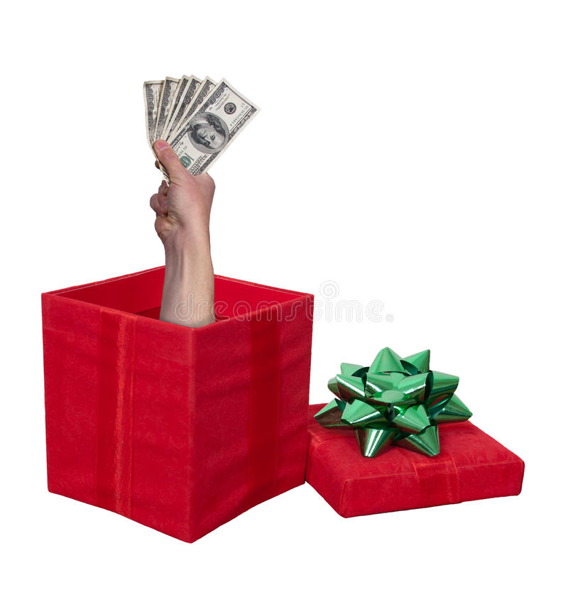 Contenitore di regalo del regalo di Natale dei contanti dei soldi isolato immagini stock libere da diritti