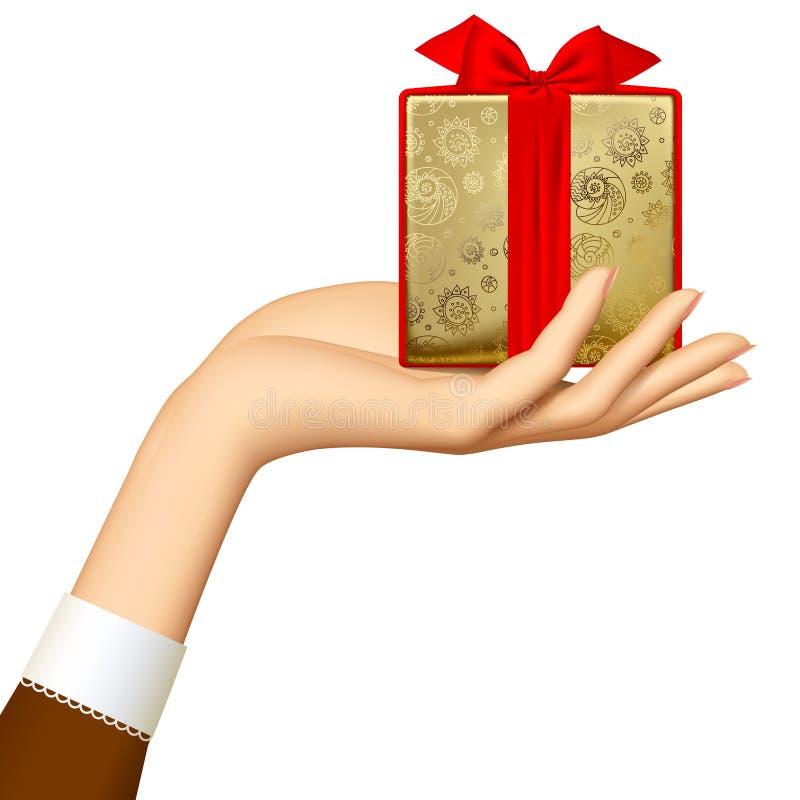 Contenitore di regalo dell'oro della tenuta della mano del ` s della donna con il nastro rosso isolato su w illustrazione di stock