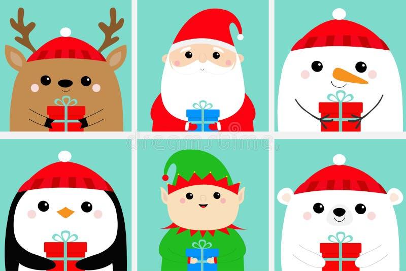 Contenitore di regalo della tenuta dell'uccello del pinguino dell'orso di Santa Claus Elf Raindeer Deer Snowman Insieme capo dell royalty illustrazione gratis