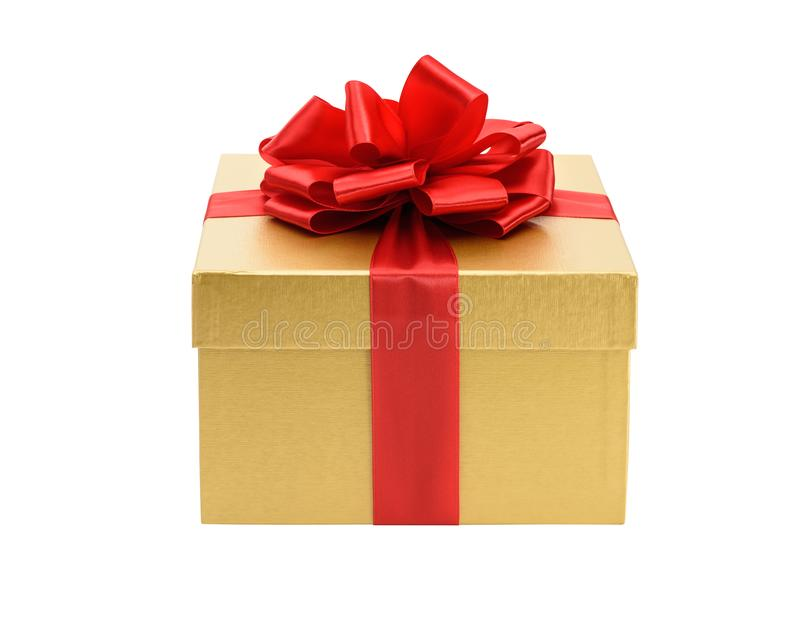 Contenitore di regalo dorato isolato su un bianco fotografia stock