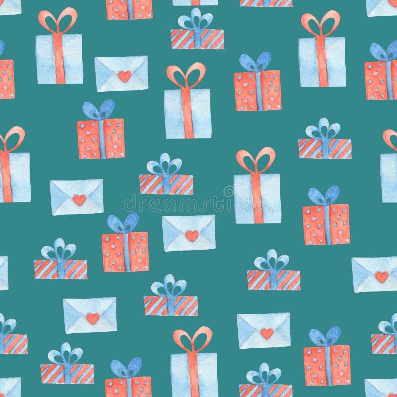 Contenitore di regalo e modello senza cuciture dell'acquerello della lettera royalty illustrazione gratis