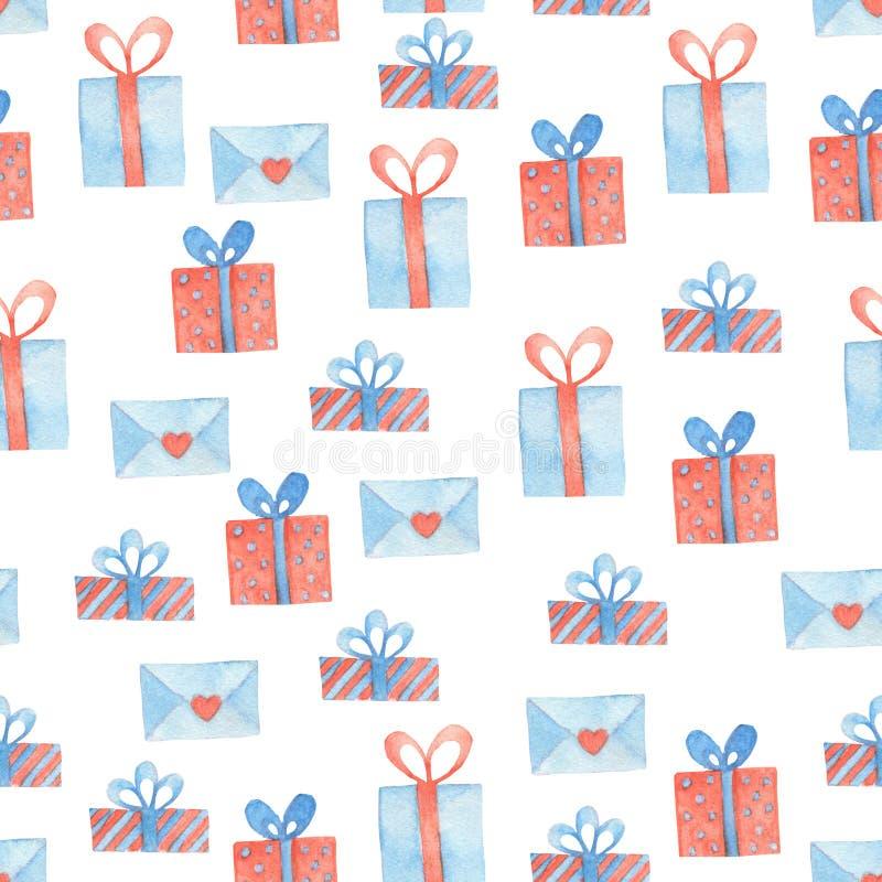 Contenitore di regalo e modello senza cuciture dell'acquerello della lettera illustrazione di stock