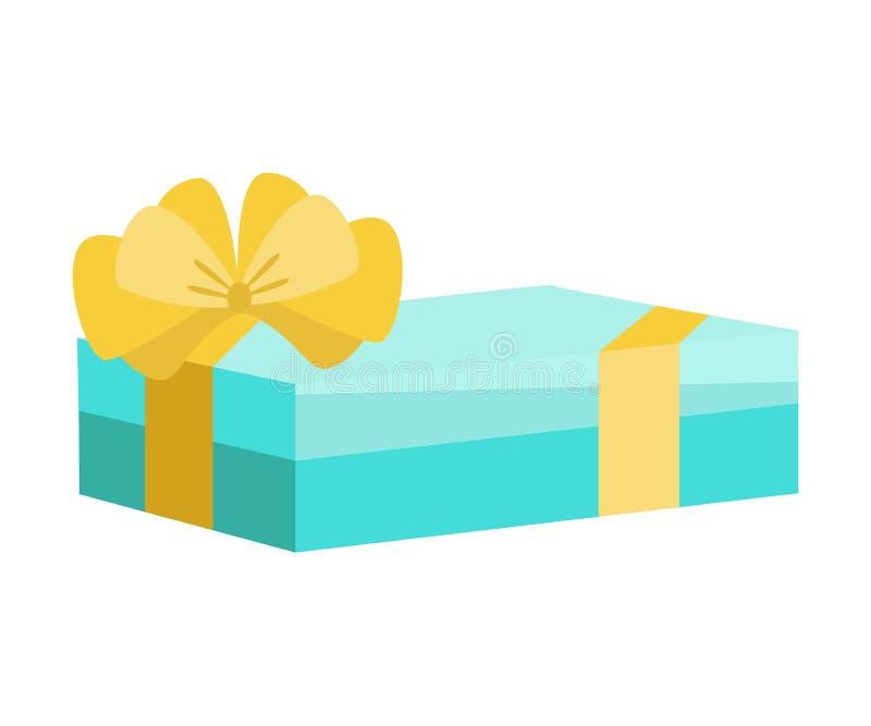 Contenitore di regalo festivo della festa con l'arco opprimente, pacchetto attuale per il compleanno, natale, nozze, celebrazione royalty illustrazione gratis