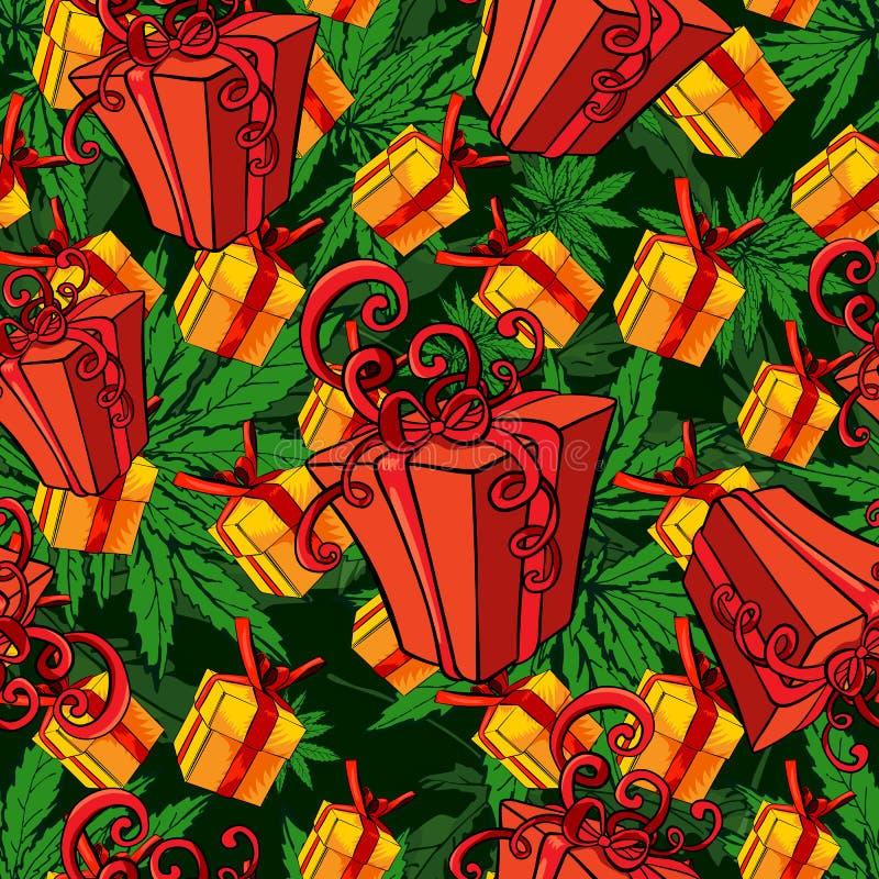 Contenitore di regalo, fondo senza cuciture di immagine di vettore Modello senza cuciture con le foglie della marijuana royalty illustrazione gratis