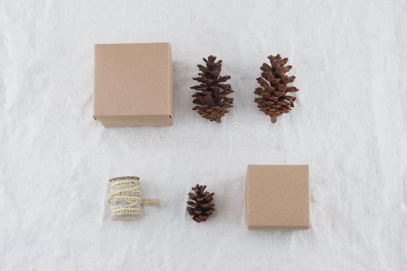 Contenitore di regalo marrone due decorato con i pinecones ed il dispositivo di protezione in caso di capovolgimento immagine stock