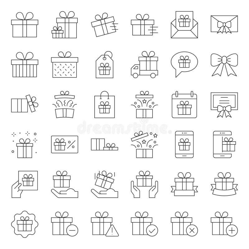 Contenitore di regalo o icona attuale della scatola, linea sottile royalty illustrazione gratis