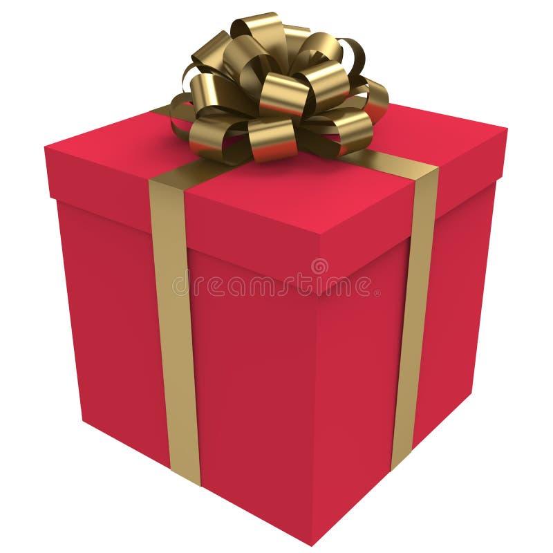Contenitore di regalo rosso con l'arco ed il nastro dell'oro illustrazione di stock