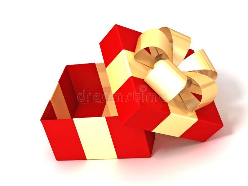 Contenitore di regalo rosso con le sfere 2 dell'oro royalty illustrazione gratis