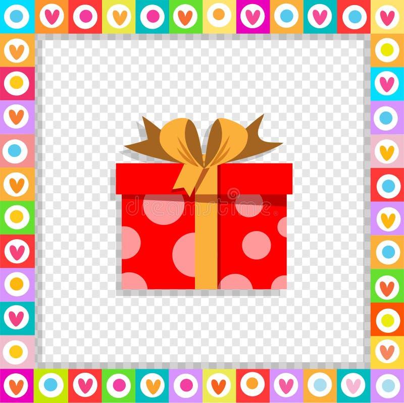 Contenitore di regalo rosso del fumetto sveglio avvolto con il nastro festivo incorniciato con il confine del cuore isolato illustrazione di stock
