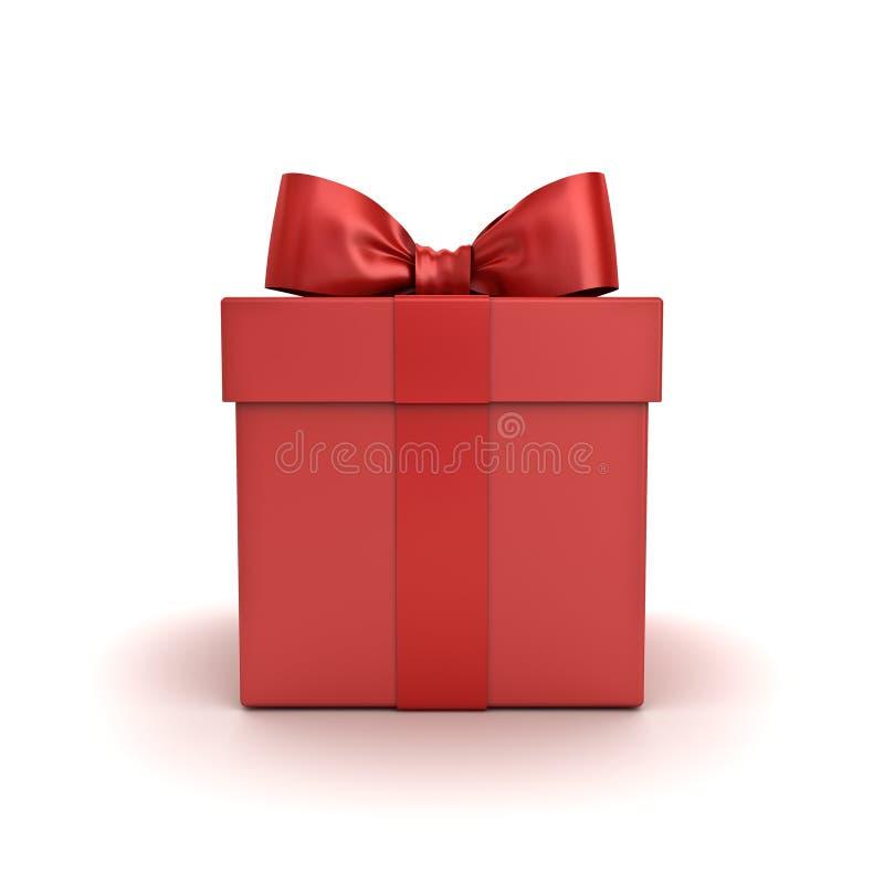 Contenitore di regalo rosso o scatola attuale con l'arco rosso del nastro isolato su fondo bianco fotografia stock