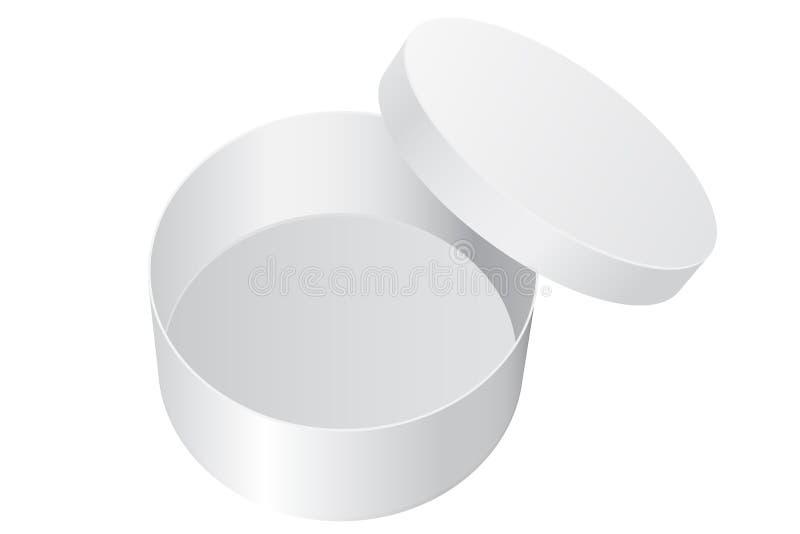 Contenitore di regalo rotondo Pacchetto aperto dello spazio in bianco bianco illustrazione di stock