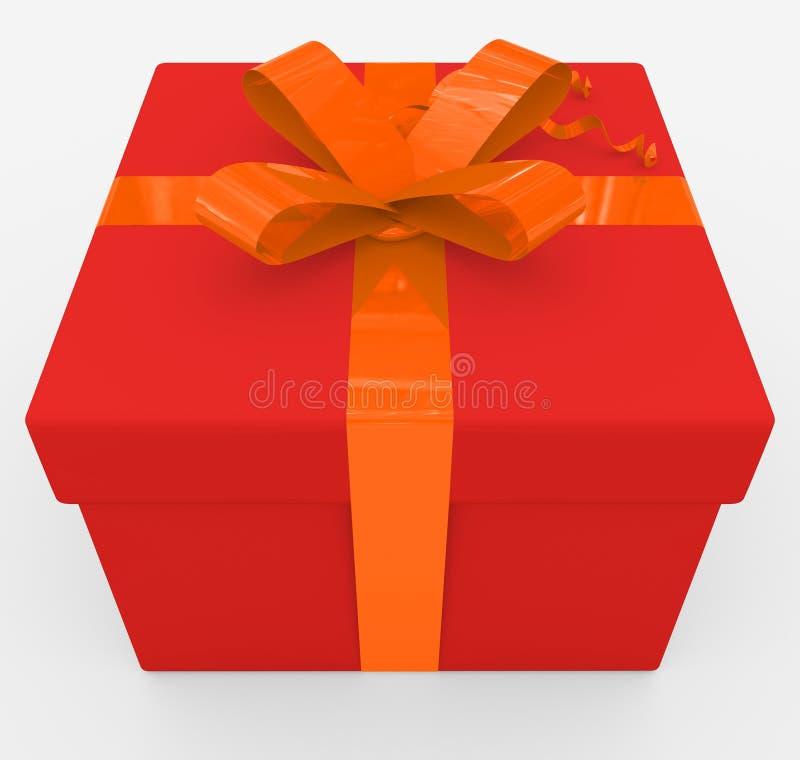 Contenitore di regalo - scatola rossa, nastro arancio - isolato su bianco royalty illustrazione gratis