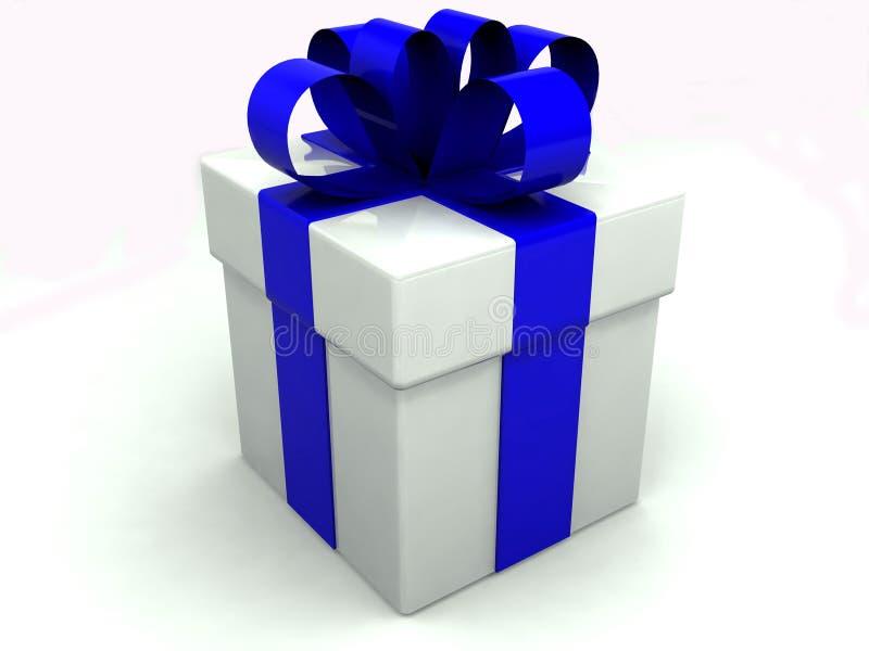 Contenitore di regalo sopra priorità bassa bianca fotografie stock