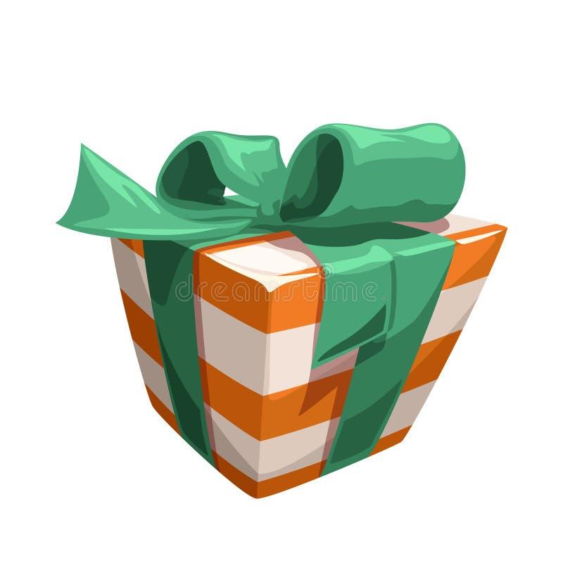 Contenitore di regalo spogliato arancio bianco con illustrazione vettoriale