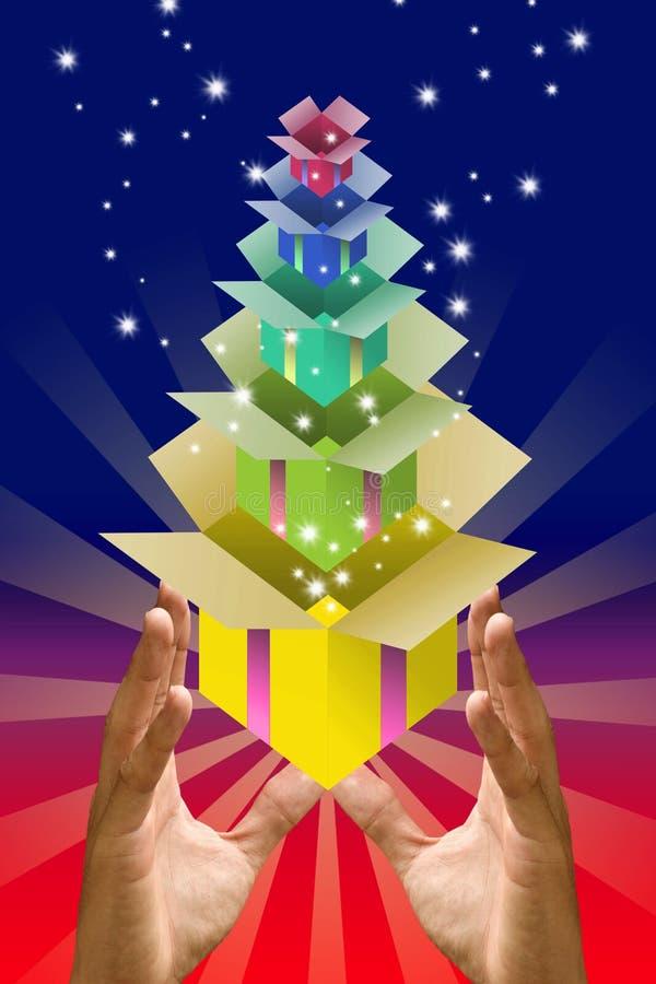 Contenitore di regalo variopinto all'interno del contenitore di regalo nella mano royalty illustrazione gratis