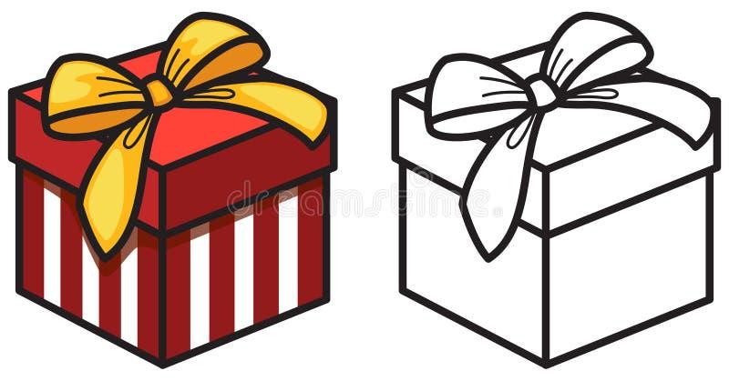 Contenitore di regalo variopinto ed in bianco e nero per il libro da colorare royalty illustrazione gratis