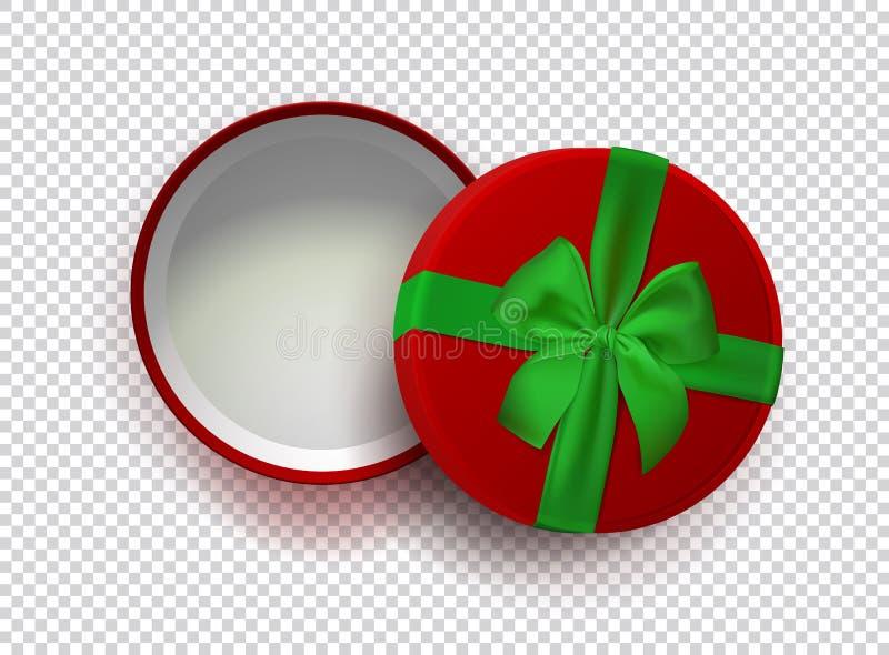 Contenitore di regalo vuoto rosso aperto con il nastro verde ed arco isolato su fondo trasparente Vista superiore Modello per il  royalty illustrazione gratis