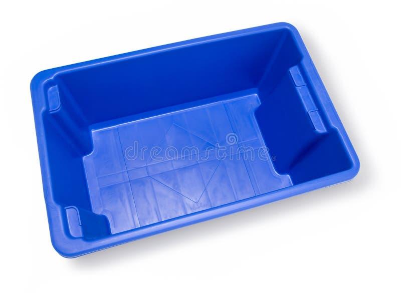Contenitore di riciclaggio blu vuoto immagini stock libere da diritti