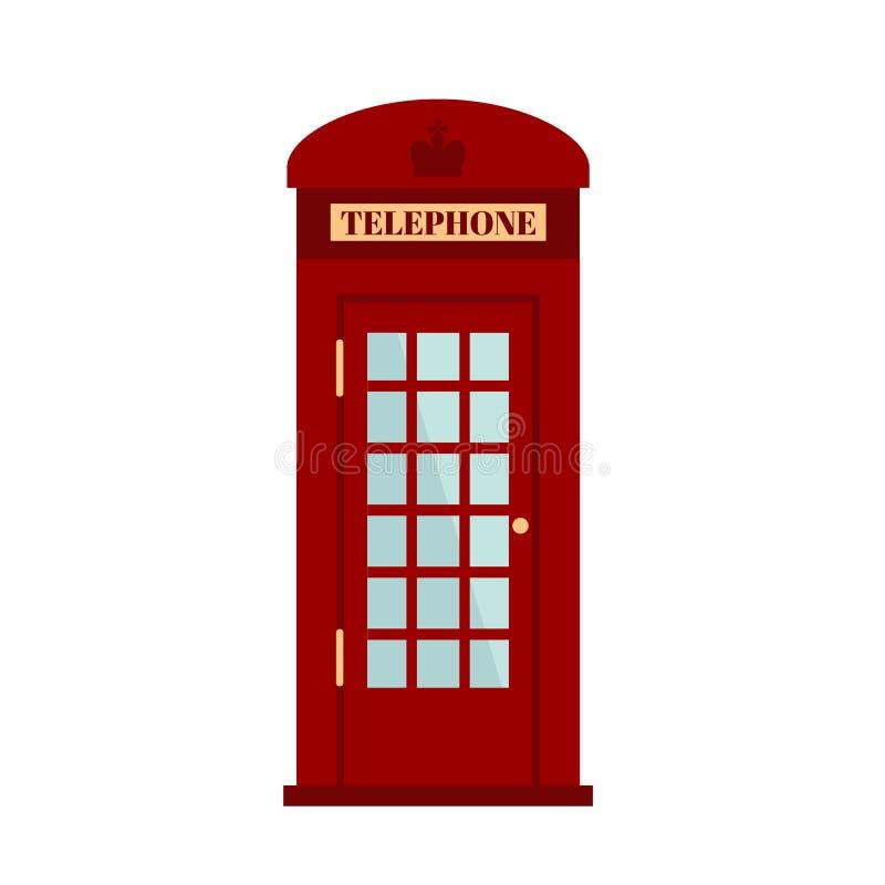 Contenitore di telefono di Londra isolato su fondo bianco Contenitore rosso di telefono Icona rossa della cabina telefonica nello royalty illustrazione gratis
