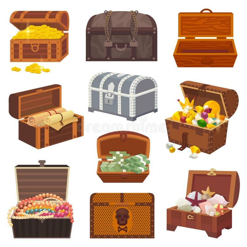 Contenitore di tesoro di vettore del petto con ricchezza dei soldi dell'oro o petti di legno del pirata con le monete dorate ed i illustrazione vettoriale