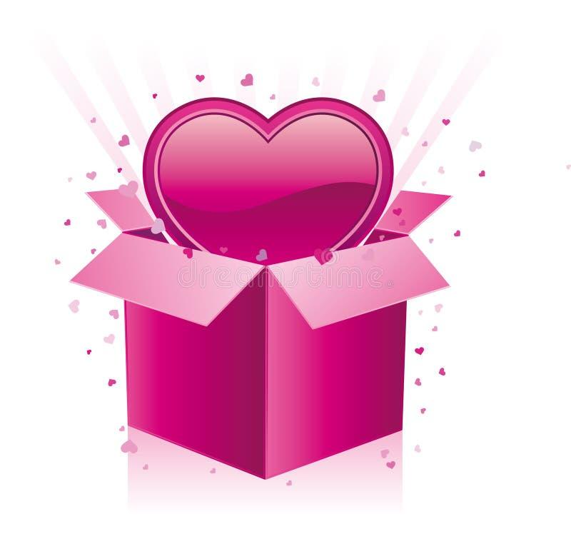 contenitore e cuore di regalo illustrazione vettoriale
