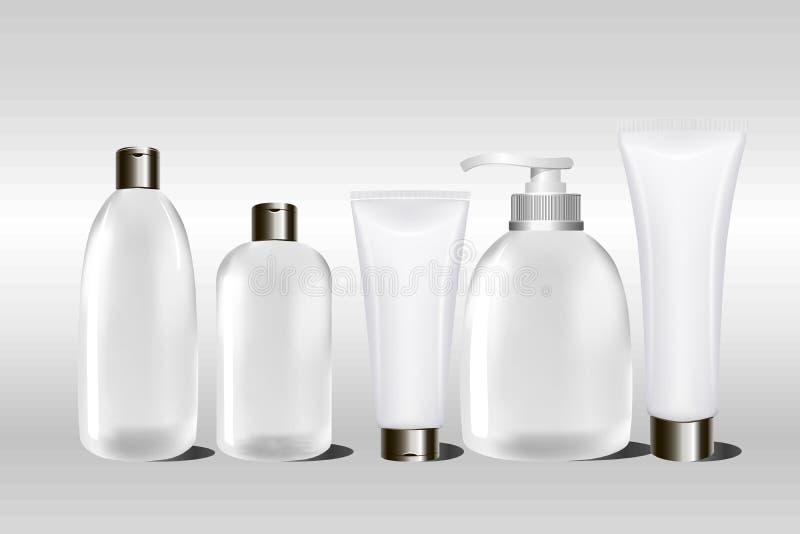 Contenitore e tubo crema cosmetici bianchi in bianco realistici per crema, unguento, lozione, sciampo Derisione sulla bottiglia illustrazione vettoriale