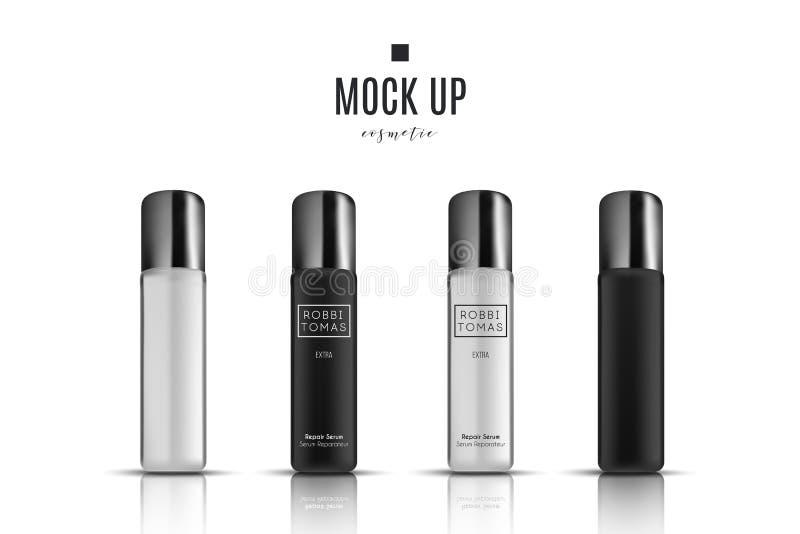 Contenitore e tubo crema cosmetici bianchi realistici per crema, unguento, dentifricio in pasta, derisione della lozione sulla bo illustrazione di stock