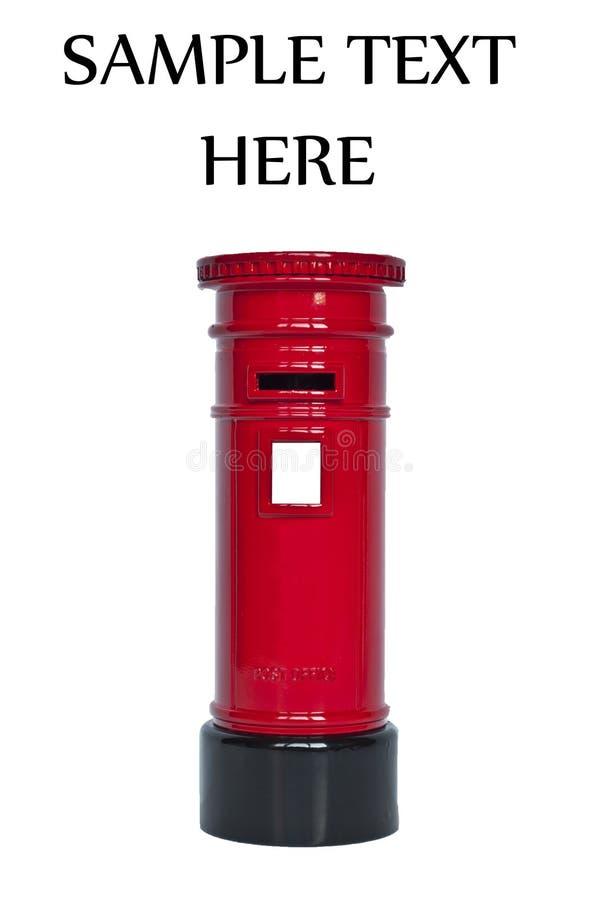 Contenitore inglese rosso di posta isolato su bianco immagine stock libera da diritti