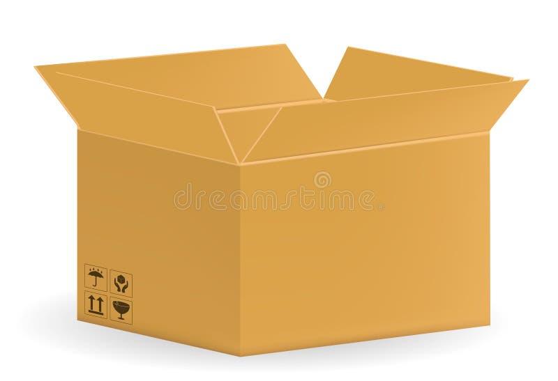 Contenitore ondulato aperto reale di cartone su un fondo bianco illustrazione vettoriale