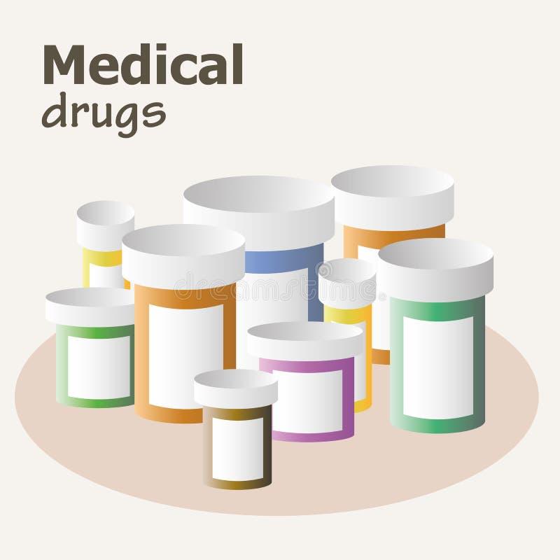 Contenitore per le pillole e le droghe illustrazione di stock