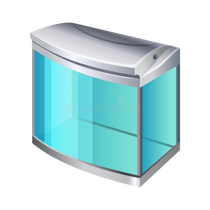 Contenitore rettangolare di vetro o del plastica per uso come un terrario ed acquario illustrazione di stock