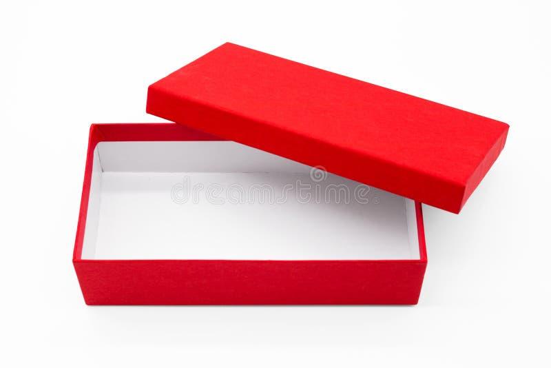 Contenitore rosso di percorso di ritaglio su fondo bianco fotografia stock