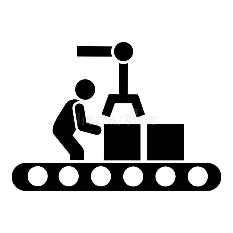 Contenitore, trasporto, uomo, macchinario, icona di automazione Elemento dell'icona fabbricante Icona premio di progettazione gra illustrazione di stock