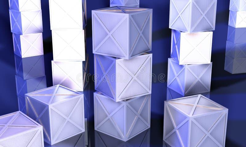Contenitori blu di ferro illustrazione di stock