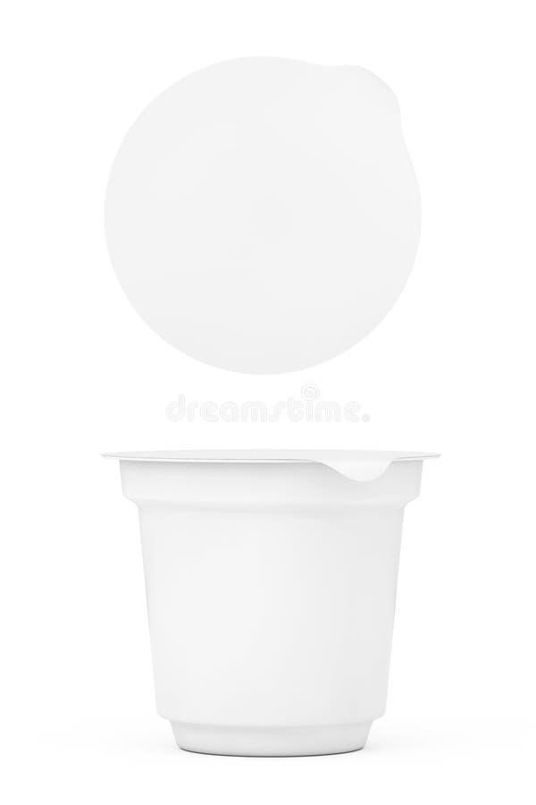 Contenitori d'imballaggio bianchi in bianco per yogurt, il gelato o Desser fotografia stock