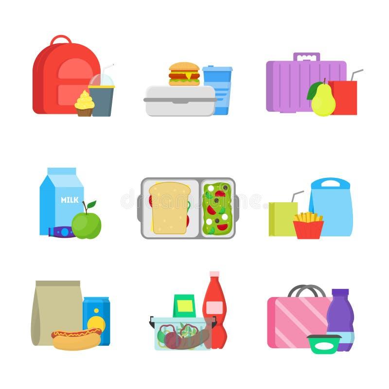 Contenitori di alimento della refezione di colore del fumetto messi Vettore illustrazione di stock