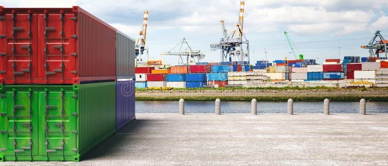 Contenitori di carico, fondo del porto Importazioni-esportazioni, concetto di logistica illustrazione 3D illustrazione di stock