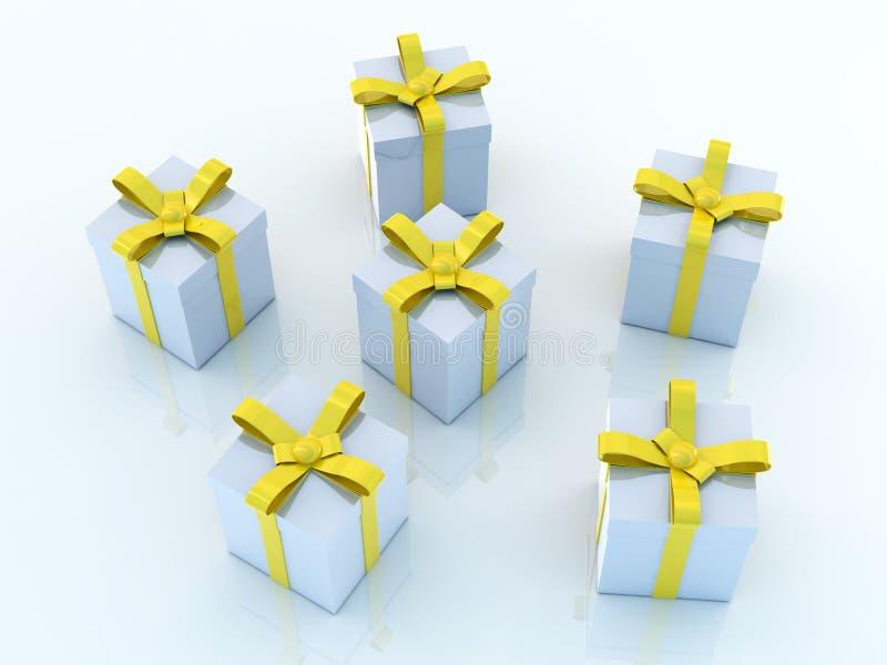 Contenitori di regalo - ambiente blu illustrazione vettoriale