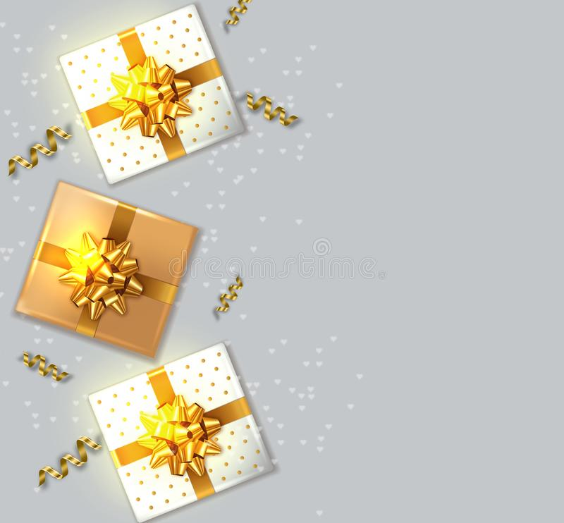 Contenitori di regalo con il vettore dorato dell'arco realistico derisione di disposizione del prodotto su Progettazione che imba illustrazione vettoriale