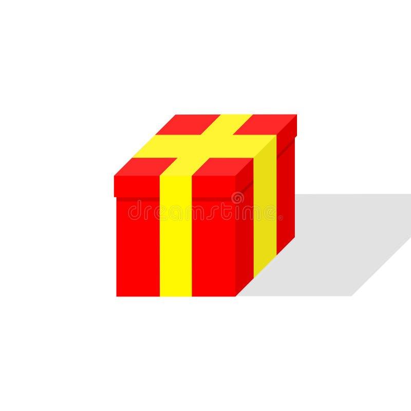 contenitori di regalo 3d con il nastro isolato su fondo bianco Presente rossi di Santa, sorprese Natale, compleanno, concetto di  illustrazione di stock