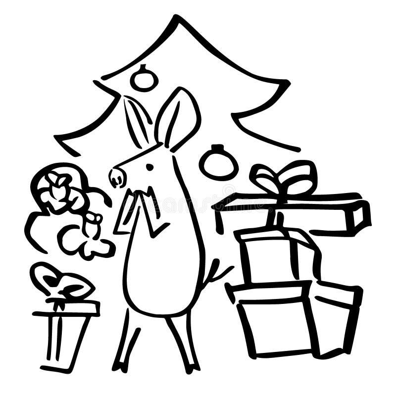 Contenitori di regalo del porcellino di vettore ed albero di abete divertenti illustrazione vettoriale