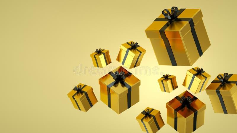 Contenitori di regalo dell'oro con il nastro nero su fondo nero rappresentazione 3d illustrazione di stock