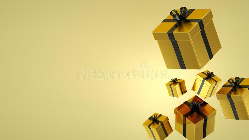 Contenitori di regalo dell'oro con il nastro nero su fondo nero rappresentazione 3d immagini stock libere da diritti