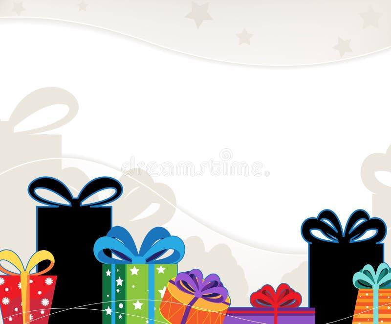 Contenitori di regalo di natale con gli archi colorati illustrazione di stock
