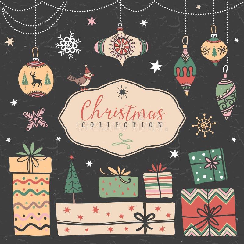 Contenitori di regalo di Natale e palle dell'albero Illustrazione disegnata a mano royalty illustrazione gratis