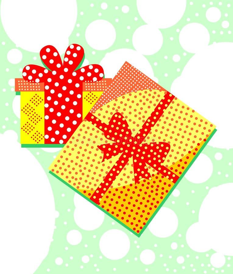 Contenitori di regalo imballati sorprese Illustrazione elegante e variopinta illustrazione vettoriale